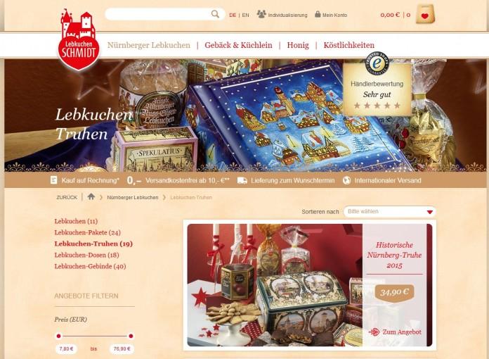 Auf der Website von Lebkuchen Schmidt finden Sie ein riesiges Angebot an Lebkuchen-Spezialitäten.