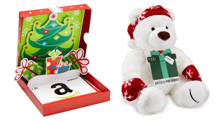 Amazon Geschenkgutschein: Teddybär und Geschenkbox