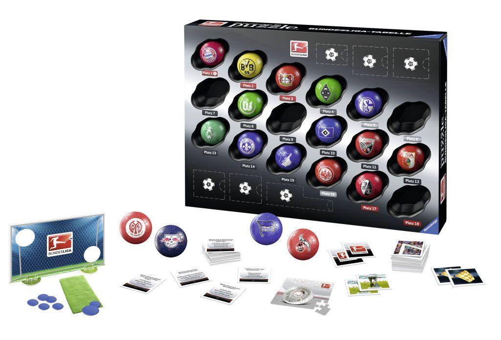 Im Set des Bundesliga Adventskalender 2016 enthalten ist neben den 18 Puzzlebällen auch reichhaltiges Zubehör.