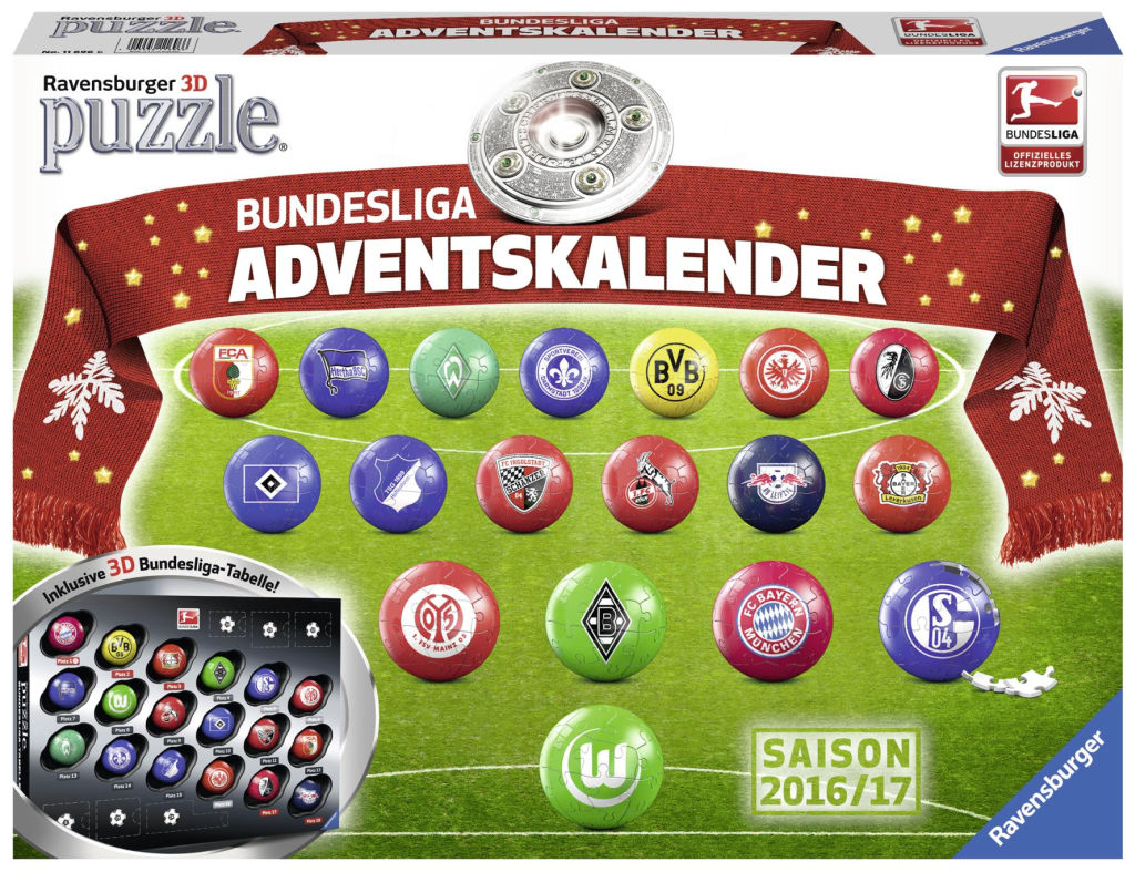 bundesliga adventskalender 2016 mit 3d puzzle b llen o du fr hliche. Black Bedroom Furniture Sets. Home Design Ideas