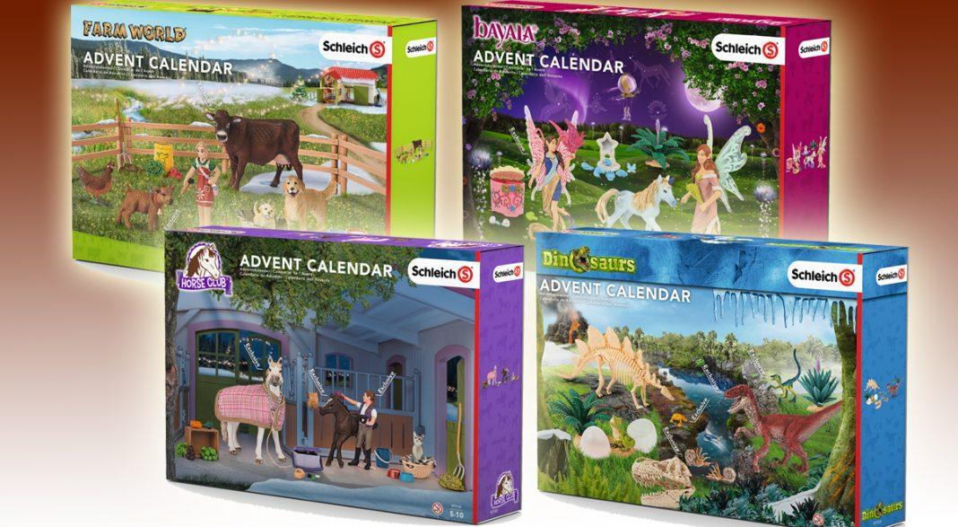 Die vier Schleich Adventskalender 2016: Bauernhof, Bayala, Pferde und Dinosaurier.