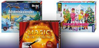 Die Kosmos Adventskalender 2016 mit Die drei ???, Die drei !!! und dem Magic-Zauberkasten.
