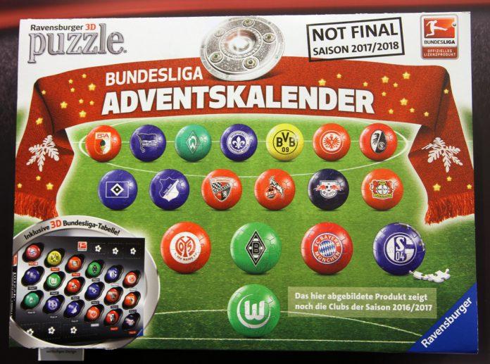 Ab September 2017 auf dem Markt: der neue Bundesliga Adventskalender 2017 mit 3D-Puzzlebällen von Ravensburger
